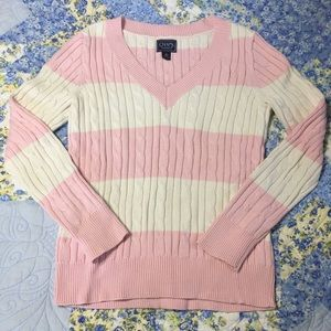 Chaps pink and off white sweater